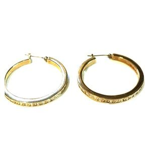 Vintage Givenchy crystal hoop earrings